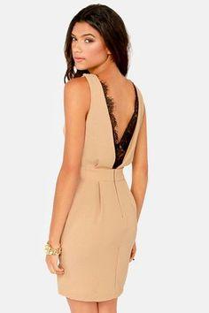 Trim and Proper Beige Lace Dress at LuLus.com!
