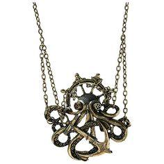 Steampunk Octopus Chain Anchor Pendant Gothic Punk Neckla...…