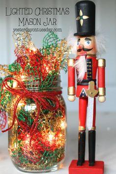 Lighted Christmas Garland: How to transform a plain string of lights and some ribbon from the dollar store into lush and festive holiday decor. Wine Party Decorations, Diy Christmas Decorations Easy, Christmas Ornament Crafts, Diy Christmas Cards, Christmas Crafts, Ornaments Ideas, Crochet Christmas, Holiday Decorating, Christmas Stuff