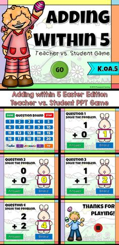 Engage students with this fun, interactive Easter addition math game. Students are playing against the teachers as they add numbers from 0 to 5. THe answer ranges from 0 to 5 and includes are tie breaker question.There area total of 20 questions. Great for Smartboards, tablets, and iPads!