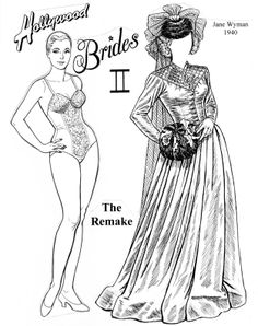 And like the first edition, here's a reimaging of the 1994 sequel, only these were real wedding outfits. 4 page set, $7. To see more click here  http://www.fancyephemera.com/hollywoodcostume2.html#HOLLYWOODBRIDESII