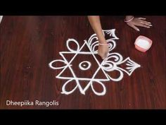 simple freehand flower rangoli for beginners - easy kolam designs -muggulu designs without dots - YouTube