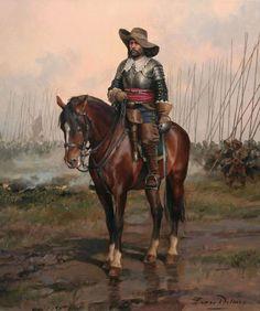 Spanish Cavalry officer, Thirty Years' War (1616-1648). Painter: Augusto Ferrer-Dalmau Nieto