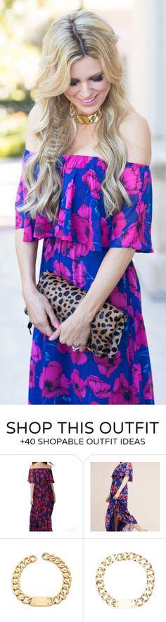pretty spring outfits /  Blue Flower Print Off Shoulder Dress / Leopard Clutch