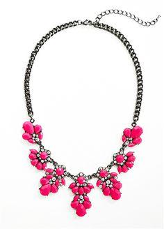 Neon Necklace, Pink Statement Bib Necklace by Shamelessly Sparkly $24.90