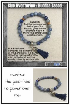 The unique Buddha Head tassel sets this Blue Aventurine gemstone bead bracelet apart from the rest. MANTRA: The past has no power over me. - 8mm Blue Aventurine Natural Gemstones - Bamboo Rondelles -
