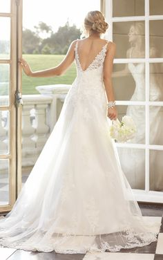 Fall head over heals for this Dolce Satin wedding gown with soft lace overlay. It's romantic, feminine and classy all in one. Beautiful beaded straps complete the look. Style 5751
