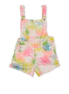 Girls 7-16 Printed Shortalls with Frayed Hems