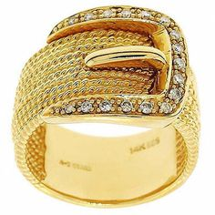 0.20 Cttw IGL Certified Round Diamonds Belt Shaped Cocktail Ring 14K Yellow Gold #Cocktail