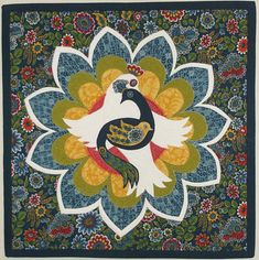 This small fiber art quilt features a central medallion of three nested folk art birds over a large stylized flower. The colors are navy blue and denim blue, mustard gold, white, true red, and yellow-green. * Measures 17.5 x 17.5  * has a 4 rod sleeve on the back  * Made in a smoke-free home.  Technique: The applique pieces were fused down (raw-edge) and then ...