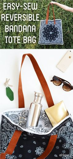 This reversible bandana tote is adorable! Easy-sew instructions make it a great DIY project for beginners and seamstresses alike.  http://www.ehow.com/how_12343534_easysew-reversible-tote-bag-using-bandanas.html?utm_source=pinterest.com&utm_medium=referral&utm_content=freestyle&utm_campaign=fanpage