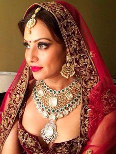 Indian bridal jewellery.  Indian wedding jewelry. Diamonds. Pearls emerald #jewels #icw2014