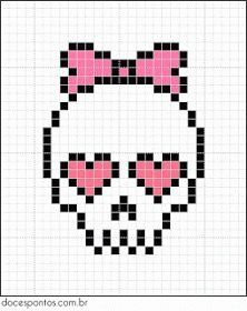A quick and easy skull cross stitch chart for girls Bead Loom Patterns, Perler Patterns, Beading Patterns, Embroidery Patterns, Cross Stitch Patterns, Beaded Cross Stitch, Cross Stitch Embroidery, Cross Stitch Skull, Pixel Art Halloween