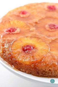 Pineapple Upside Down Cake makes a timeless dessert. Topped with a signature pineapple and cherry topping, this pineapple upside down cake is a southern classic.