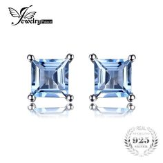 JewelryPalace Natural Sky Blue Topaz 925 Solid Sterling Silver Fashion Women Dazzling Princess Cut Stud Earrings For Women Topaz Earrings, Sterling Silver Earrings Studs, Women's Earrings, Argent Sterling, Blue Topaz, Fine Jewelry, Princess Cut, Fashion Women, Sky