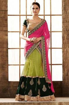 Lovely collection of saree available at best price. Buy this faux chiffon green and pink lehenga saree. Lehenga Style Saree, Pink Lehenga, Saree Look, Net Saree, Sarees Online India, Lehenga Choli Online, Bridal Lehenga Collection, Indian Bridal Lehenga, Bridal Sari