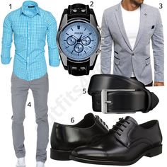 Business style for men with turquoise Amaci & Sons shirt and light gray chino, elegant Ozonee jacket, black business shoes, narrow Lloyd leather belt and Fossil men's wristwatch .  1. Shirt► amzn.to/2I2as8U 2. Clock► amzn.to/2rtvNOz (-36%)  3. Jacket► amzn.to/2rstgmQ 4. Chino► amzn.to/2KJVoKZ 5. Belt► amzn.to/2FULPVK 6. shoes► amzn.to/2FULGla Business Fashion, Men's Business Outfits, Business Shoes, Business Style, Emporio Armani, Fashion Sale, Mens Fashion, Fashion Edgy, Men Dress Up