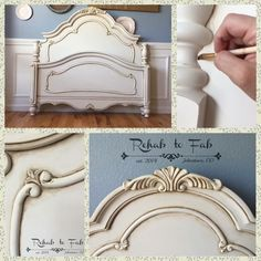 Gorgeous Ornate French Style Bed painted in Antique White Milk Paint with their Van Dyke Brown Glaze. Sealed with GF Flat out Flat. Done by Rehab to Fab. Chalk Paint Bed, Chalk Paint Furniture, Hand Painted Furniture, Furniture Projects, Furniture Makeover, Diy Furniture, Tan Paint, Milk Paint, Furniture Outlet