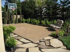 Basketball Court Design- could possibly try with hoop towards backyard; covered with wire mesh and plants from the ground to cover the pole better. Concrete to flow as desired; just have enough space to have a small basketball court. Backyard Sports, Fire Pit Backyard, Backyard Patio, Backyard Landscaping, Backyard Ideas, Patio Ideas, Driveway Ideas, Backyard Designs, Pergola Patio
