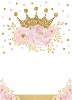 Shop Pretty Princess Gold Crown Pink Floral Baby Shower Invitation created by BlueBunnyStudio. Girl Birthday Decorations, Baby Shower Decorations, Shower Centerpieces, Table Decorations, Girl First Birthday, Baby Birthday, Invitation Floral, Pink Und Gold, Gold Gold