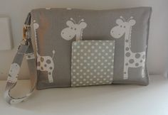 Giraffe Nappy Wallet with Grey Dots on Etsy, $25.00