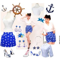 Sail away this summer with Vivien of Holloway in our Anchors Aweigh Shorts! by vivienofholloway on Polyvore