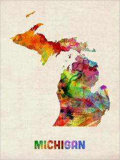 Michigan Watercolor Map USA Art Print 365 by artPause on Etsy