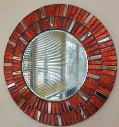 Stunning Round Copper Red & Metallic Gold Tile Handmade Mosaic Mirror in Home, Furniture & DIY, Home Decor, Mirrors | eBay