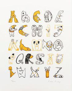 Dog Alphabet Poster Art Print Illustration Typography.