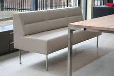 Escape eettafelbank Leer Satino sand - Designsales.nl