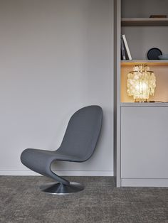 System 1-2-3 Lounge Chair and Fun table lamp, designed by Verner Panton