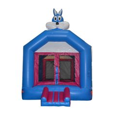 Blue rabbit commercial jumping house for kids, fun and safe design from sunjoy.