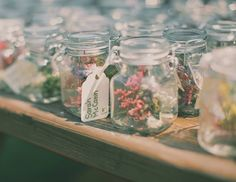Dried flowers in jars are escort cards and favors at a rustic chic wedding Flowers In Jars, Pretty Flowers, Dried Flowers, Flower Jars, Paper Flowers, Trendy Wedding, Unique Weddings, Outdoor Weddings, Wedding Vintage
