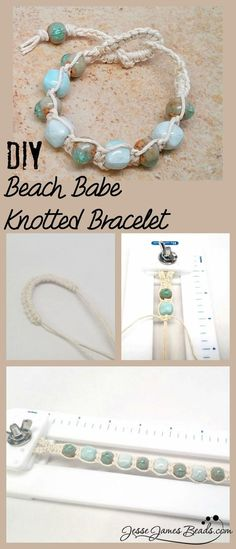 DIY Macrame Beach Stone Bracelet This knotted hemp bracelet uses backward and forward half hitch macrame knots, making this a very easy project. Find the tutorial for the DIY Macrame Beach Stone Bracelet from Jesse James Beads here. Bracelets Diy, Bracelet Knots, Stone Bracelet, Knotted Bracelet, Hemp Bracelet Tutorial, Macrame Bracelet Diy, Macrame Jewelry Tutorial, Making Bracelets, Diy Jewelry Tutorials