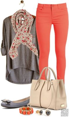 10. #Coral Skinnies - #These Spring #Outfits Are PERFECT for #School ... → #Fashion #Blouse