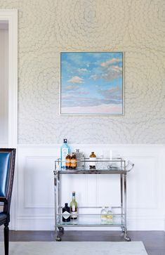 Before and After: A Williams-Sonoma Exec's Lively Traditional Home via @domainehome. wallpaper schumacher feather bloom in dove or two blues