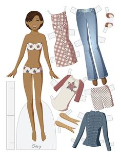 (⑅ ॣ•͈ᴗ•͈ ॣ)                                                                 ✄Betsy vector paper doll.  Red, white, and blue for July 4th!