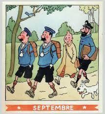¤ calendrier Herge Septembre 1944. Tintin et Milou le capitaine Haddock et les Dupondt prennent le chemin de l'école... #Hergé