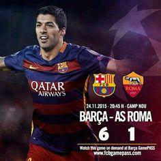 [END MATCH   FINAL] FC Barcelona vs AS Roma (6-1) 14' Luis Suárez 17' Messi 43' Luis Suárez 55' Piqué 57' Messi 75' Adriano / 89' Dzeko  #FCBvRoma #FCBLive #UCL ⚽ Força Barça!