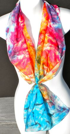 High Impact SILK SCARF Hand Painted Silk by SilkScarvesJoanReese, $70.00