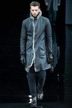 Emporio Armani Fall / Winter 2014 - Man in Leather Coat with Fur
