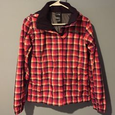 North Face Women's Plaid Lightweight Jacket Sz P/S hard to find The North Face Women's Plaid Lightweight Windbreaker Jacket/Rain Jacket. Size P/S. Lined. Hooded. Zip and Velcro front close. Adorable. No Trades. The North Face Jackets & Coats