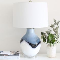 Macie Navy and White Table Lamp | Black Mango Rattan Furniture, Metal Furniture, Blue Dip Dye, Large Lamps, Black Table Lamps, Task Lamps, Linseed Oil, Lamp Bases, White Ceramics