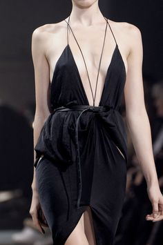 Black draped dress with dainty straps; fashion details // Haider Ackermann Spring 2011