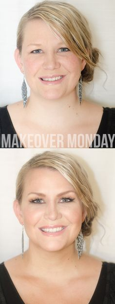 Monday Makeover. Top picture is model's own makeup. Bottom picture is her makeup artist's friends work. Added highlight and contour to face and fake lashes for better definition.