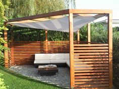 Pergola in other for the garden - cheap at auction or buy immediately Casa Patio, Backyard Patio, Backyard Landscaping, Back Gardens, Outdoor Gardens, Back Garden Design, Corner Pergola, Outdoor Living, Outdoor Decor