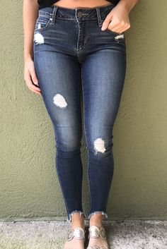 Medium wash Articles of Society Stephanie Step Hem Jean with light destruction and super cute frayed hems. Articles Of Society Jeans, Hem Jeans, Shoe Boutique, Skinny Jeans, Chocolate, Medium, Pants, Products, Schokolade