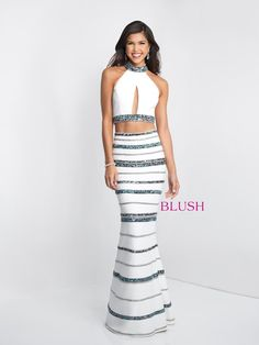 01db5727379b8 Check out the deal on Blush 11530 Beaded Stripe 2 Piece Prom Gown at French  Novelty