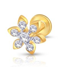 Cute gold nose stud with pear shaped flower petals, each studded with diamonds. Gold & Diamond Nose Stud For Girls & Women. 18K/14K Gold With Certified Diamonds. Door Delivery