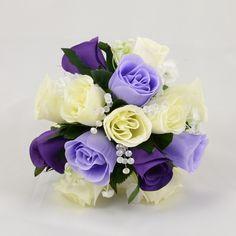 Purple, Lilac & Ivory Rose Bridesmaids Posy